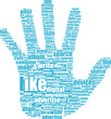 Lke hand symbol with tag cloud of word
