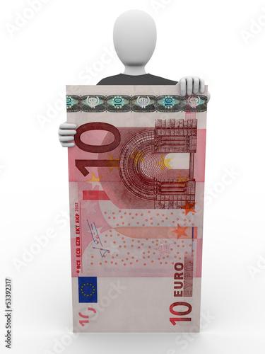 presenting ten euro bill