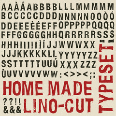 Home made woodcut typeset
