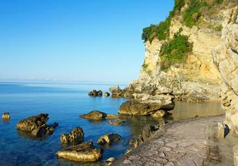 Beach of Adriatic sea, Budva, Montenegro.