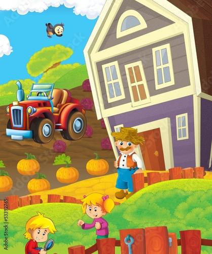 Fotobehang Boerderij The farm life - illustration for the children
