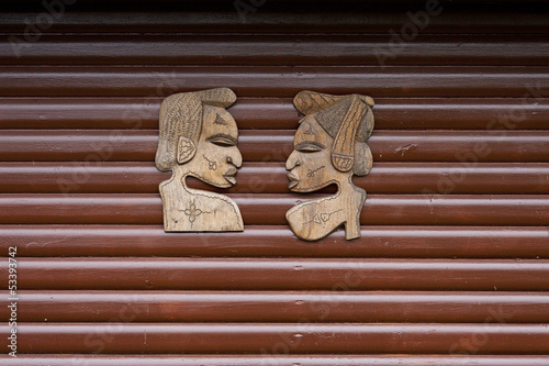 Wooden Carved African Faces