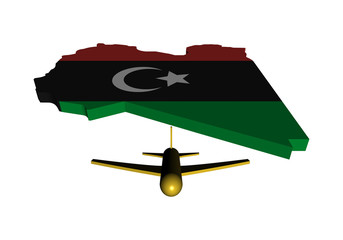 Plane taking off from Libya map flag illustration
