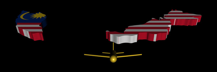 Plane taking off from Malaysia map flag illustration