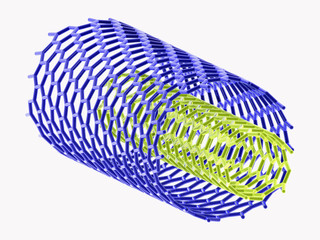 3D image of blue and green nanotubes on white background