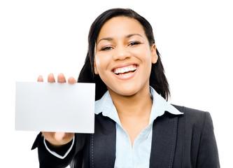 latino woman holding white card background