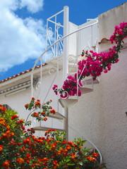 casa mediterránea con lantana y buganvilla