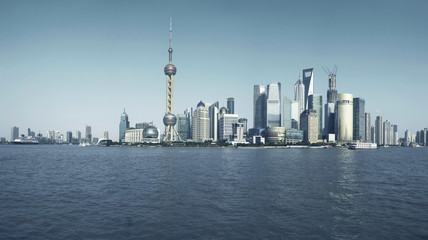 Lujiazui Finance&Trade Zone of Shanghai skyline at city landscap