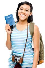 happy tourist holding passport camera photographer woman