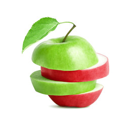 Sliced green with red apple