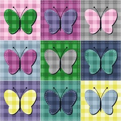 patchwork background with butterflies
