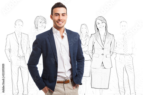 Smiling man in front of a group of sketched people