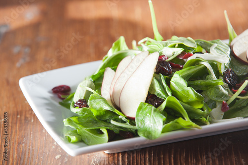 Fresh organic spinach artisan salad with pears and cranberries