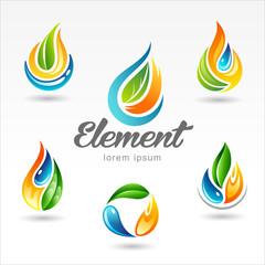 Set of six vector design of element logo templates