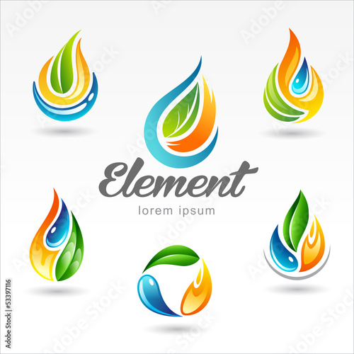 Set of six vector design of element logo templates