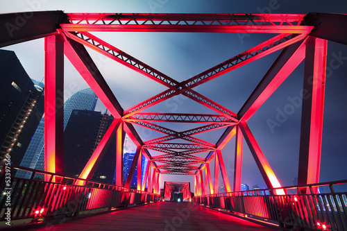 Steel structure bridge close-up at night landscape