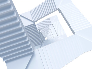 Top view of an abstract white staircase