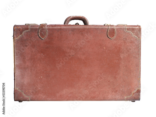 Vintage leather luggage isolated on white background
