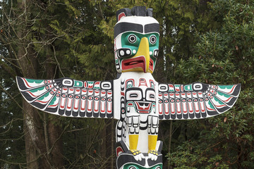 Detail of a Native American Thunderbird Totem Pole