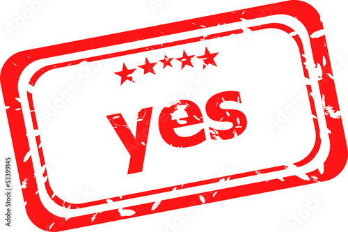 yes red rubber stamp over a white background