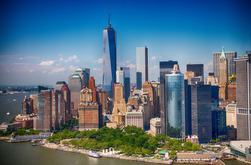 New York. Stunning helicopter view of lower Manhattan Skyline on