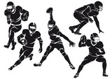 Set of american football players, silhouettes