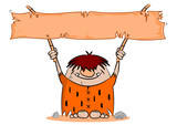 Cartoon caveman with blank banner on a white background