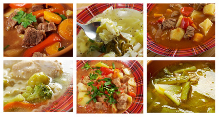 Food set of different traditional soups