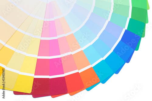 Color palette guide spread to present a range of colours