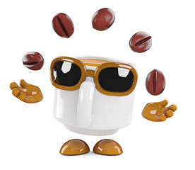 Coffee cup juggles some beans