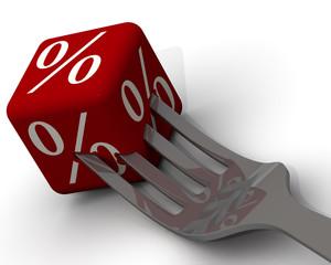 Кубик с процентами на вилке