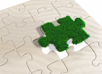 a puzzle piece of grass