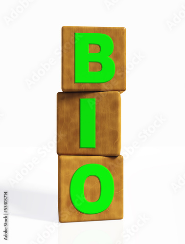 bio word composed by three vertical cubes