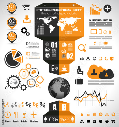 Infographic elements - set of paper tags,