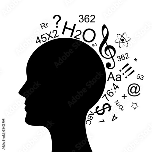 Vector illustration of head with a lot of information