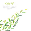 Green leaves background, vector. Including hand-drawn alphabet a