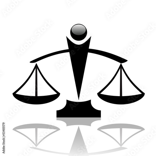 Vector  illustration of justice scales icon