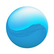 round icon with a water wave, vector illustration