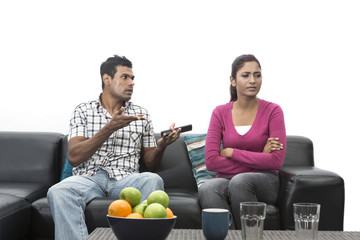Angry Indian couple having an argument