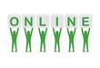 Men holding the word online. Concept 3D illustration.