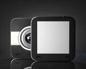Squared photo camera with empty space for your picture or text