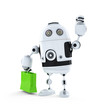 Android robot with shopping bag