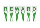Men holding the word reward. Concept 3D illustration. poster