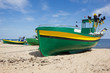 colorful fisher boats on Baltic beach