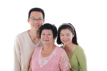 chinese family isolated on white background