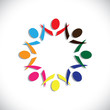 Concept vector graphic- colorful fun loving party people icons(s