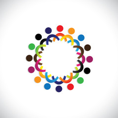 Concept vector graphic- colorful social community of people icon