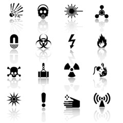 Hazard and warning signs icon set