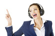 Happy attractive businesswoman listening the music