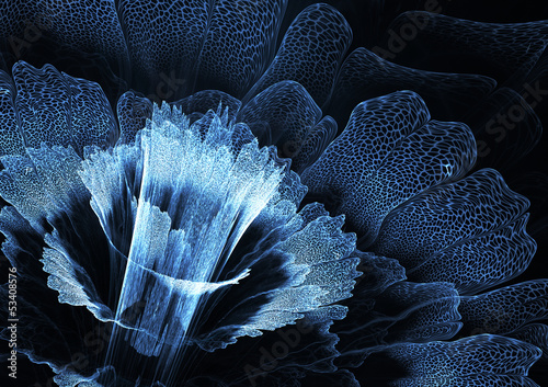 Blue futuristic flower